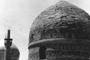 A view of Do Darb Seminary dome, dome and minaret of Gowharshad Mosque