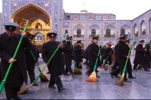 Aweeping ritual at lmam Reza (AS) holy shrine