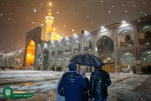 Razavi Holy Shrine's Atmosphere in a Snowy Day
