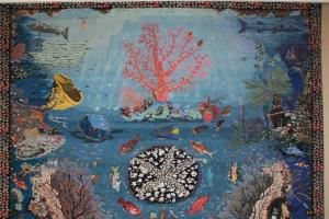 """Displaying the carpets with the title of """"The Coral Garden"""" and """"Fish World"""" in Razavi Carpet Museum on the occasion of the death of the great carpet donator to Astan Quds Razavi Museum"""