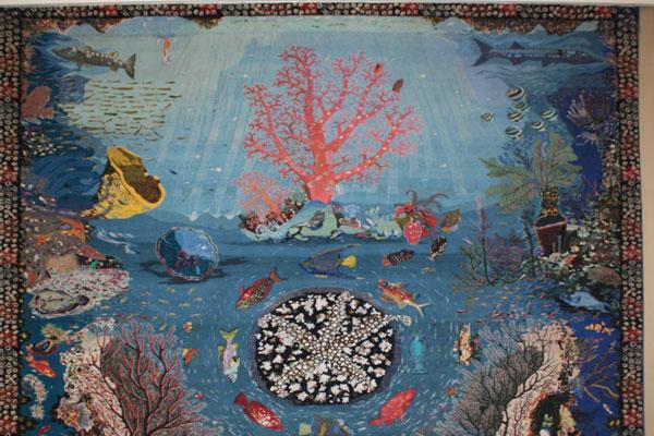 "Displaying the carpets with the title of ""The Coral Garden"" and ""Fish World"" in Razavi Carpet Museum on the occasion of the death of the great carpet donator to Astan Quds Razavi Museum"